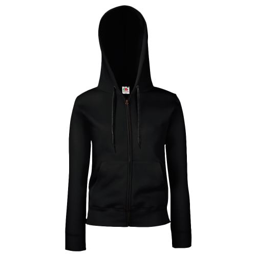 Lady fit zip hooded sweat - black