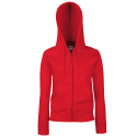 Lady fit zip hooded sweat - red