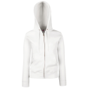 Lady fit zip hooded sweat - white