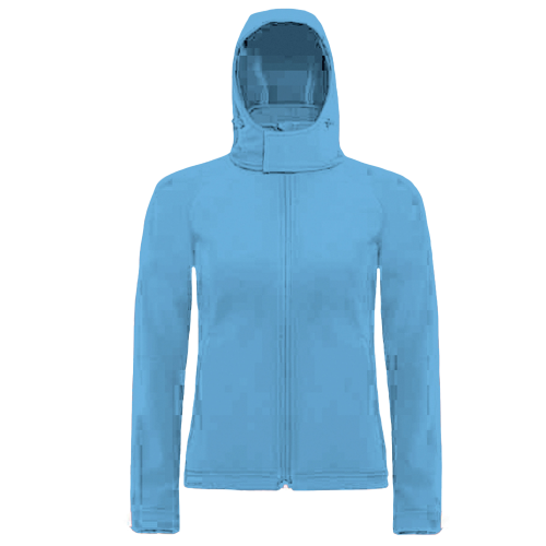Hooded softshell women - azur blue