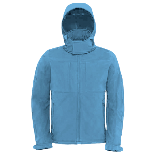 Hooded softshell men - azur blue