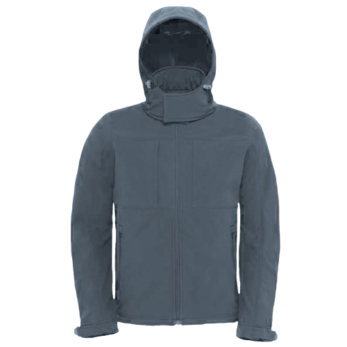 Hooded softshell men - dark grey