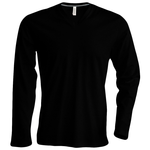 Tee shirt col V manches longues Homme - black