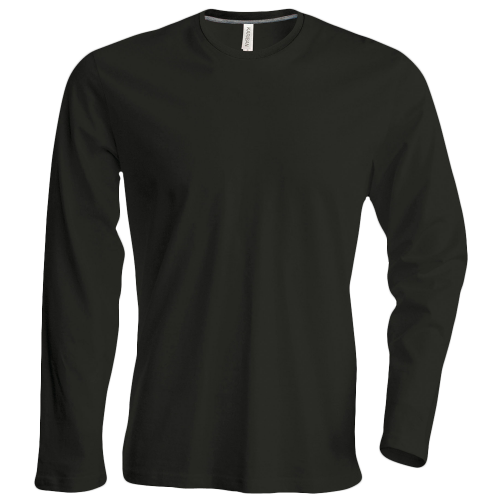 Tee shirt col rond manches longues Homme - black