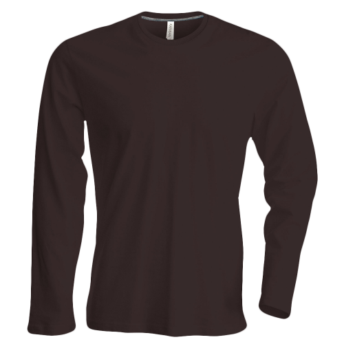 Tee shirt col rond manches longues Homme - chocolate