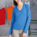 Tee shirt col V manches longues Femme