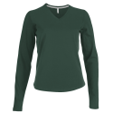 Tee shirt col V manches longues Femme - forest green