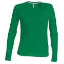 Tee shirt col V manches longues Femme - kelly green