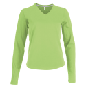 Tee shirt col V manches longues Femme - lime