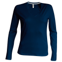 Tee shirt col V manches longues Femme - navy