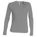 Tee shirt col V manches longues Femme - oxford grey