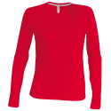 Tee shirt col V manches longues Femme - red
