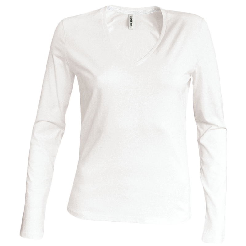 Tee shirt col V manches longues Femme - white