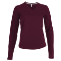 Tee shirt col V manches longues Femme - wine