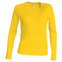 Tee shirt col V manches longues Femme - yellow