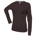 Tee shirt col rond manches longues Femme - chocolate