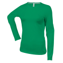 Tee shirt col rond manches longues Femme - kelly green