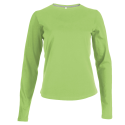 Tee shirt col rond manches longues Femme - lime