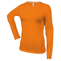 Tee shirt col rond manches longues Femme - orange