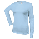 Tee shirt col rond manches longues Femme - sky blue