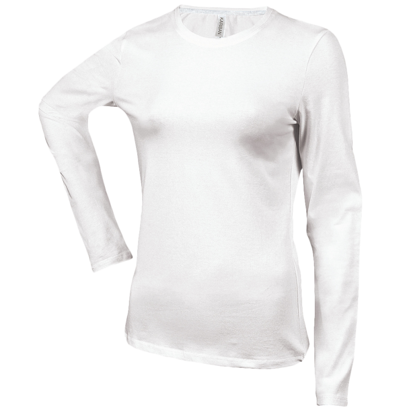 Tee shirt col rond manches longues Femme - white