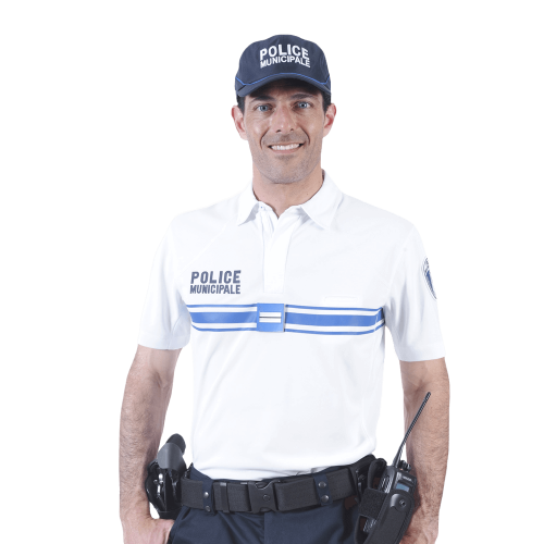 Polo blanc manches courtes Police Municipale polyester