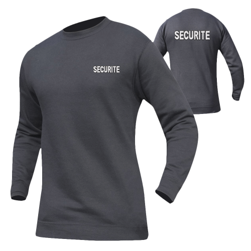 Sweat Securite noir marquage blanc