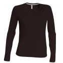 Tee shirt col V manches longues Femme - chocolate